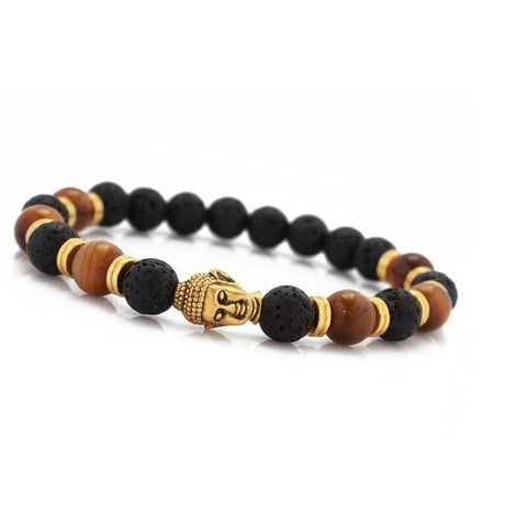 Tiger Eye Black Lava OM Yoga Bracelet in gold and black design