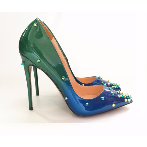 Green Blue Rivet - CelebrityShoes4U