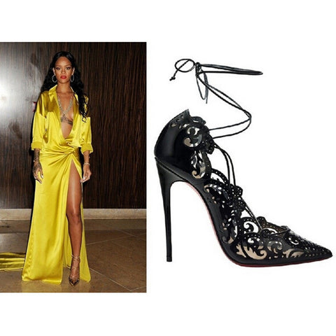 ON SALE 2016 Rihanna Lace Up Women Pumps Sexy Laser Cut Outs High Heels Women Wedding Shoes Stiletto Pointed Toe Plus Size 35-43 - CelebrityShoes4U