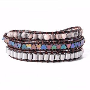Aliexpress 3X Heart Leather Wrap Beaded Bracelet Boho Chic Jewelry  Bracelet Valentine's Gift Leather Bracelets Beads Cuff Jewelry default