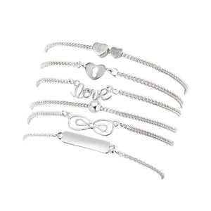 Energetic Healthy Me Anklets Boho Anklets 6 Strand Silver