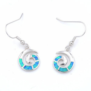Energetic Healthy Me Drop Earrings Ocean Swirl Earrings Blue