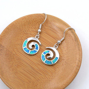 Energetic Healthy Me Drop Earrings Ocean Swirl Earrings Green