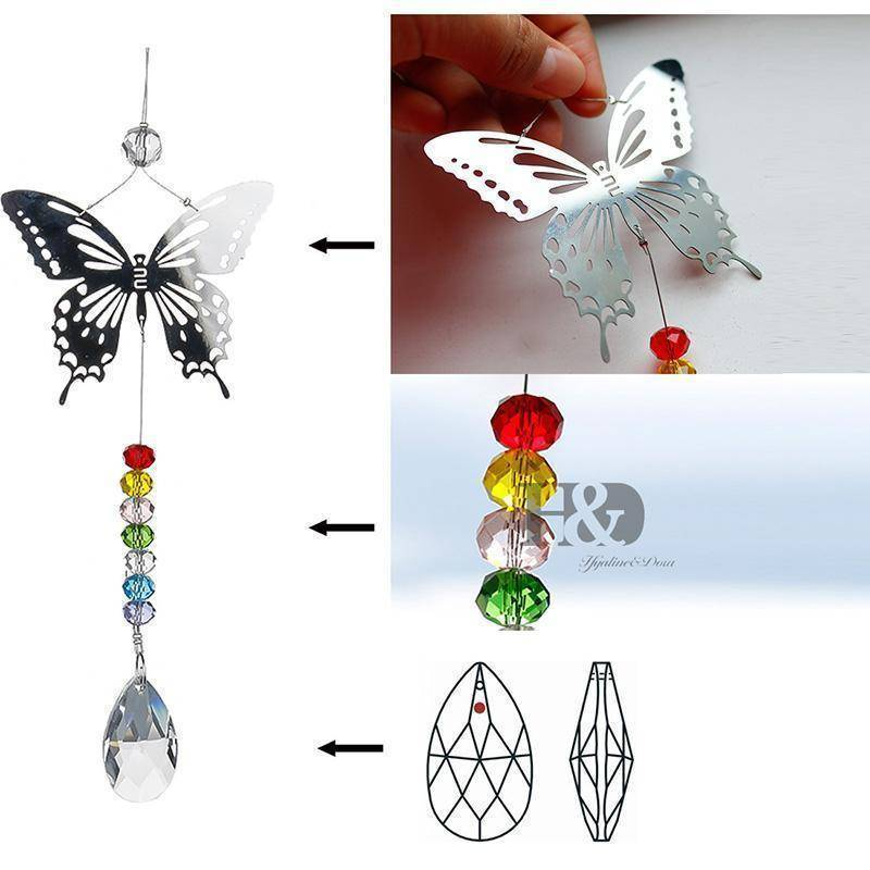 Energetic Healthy Me Home Decor Butterfly Chakra Sun Catcher Beads On Bottom