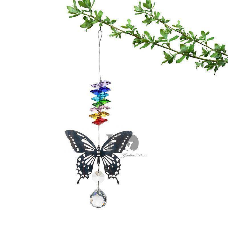 Energetic Healthy Me Home Decor Butterfly Chakra Sun Catcher Beads On Top