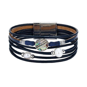Energetic Healthy Me Leather Bracelets Boho Leather Bracelets Blue Moon