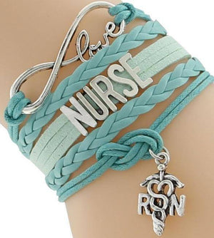 Energetic Healthy Me Leather Bracelets Infinity Nurse Bracelet Green