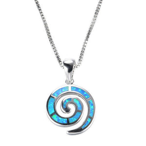 Energetic Healthy Me Pendant Necklaces Ocean Swirl Opal Pendant In Sterling Silver Blue
