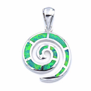 Energetic Healthy Me Pendant Necklaces Ocean Swirl Opal Pendant In Sterling Silver Green