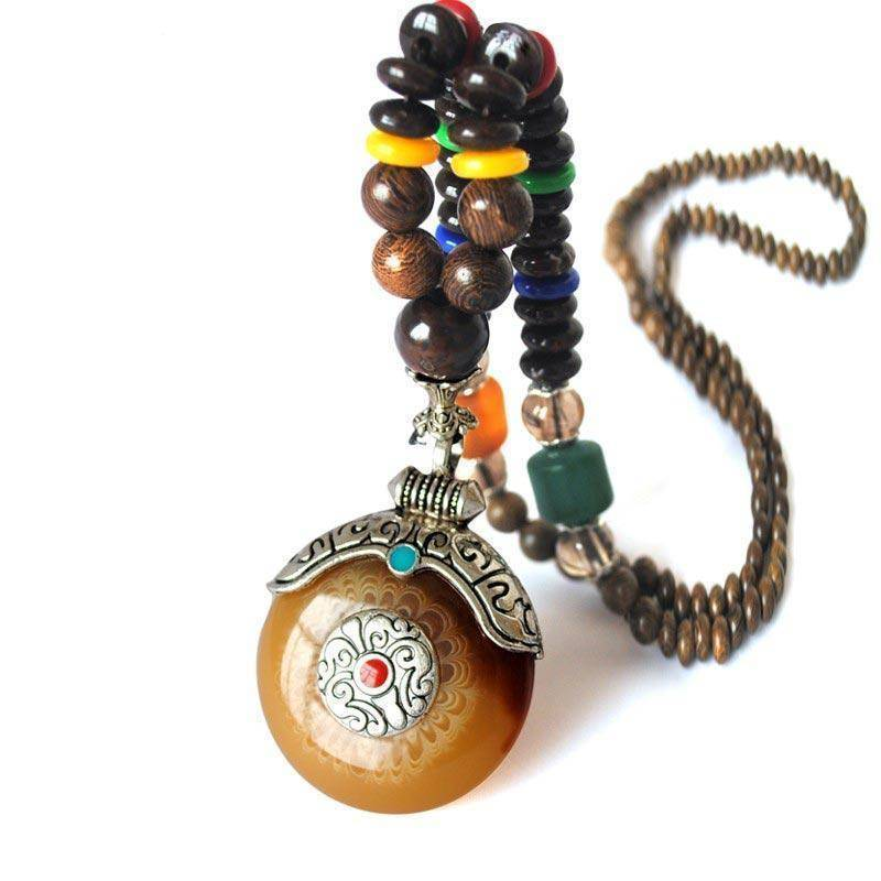 Energetic Healthy Me Pendant Necklaces Om Padme Mala Bead Necklaces Amber Empress