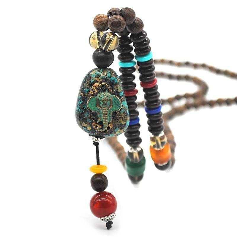 Energetic Healthy Me Pendant Necklaces Om Padme Mala Bead Necklaces Ganesha