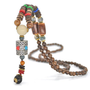 Energetic Healthy Me Pendant Necklaces Om Padme Mala Bead Necklaces Prayer Wheel
