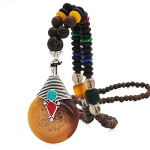 Energetic Healthy Me Pendant Necklaces Om Padme Mala Bead Necklaces Rising Sun