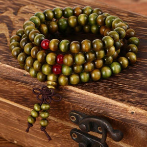 Energetic Healthy Me Stone Bracelets 108 Beaded Natural Sandalwood Meditation/Prayer Mala Green
