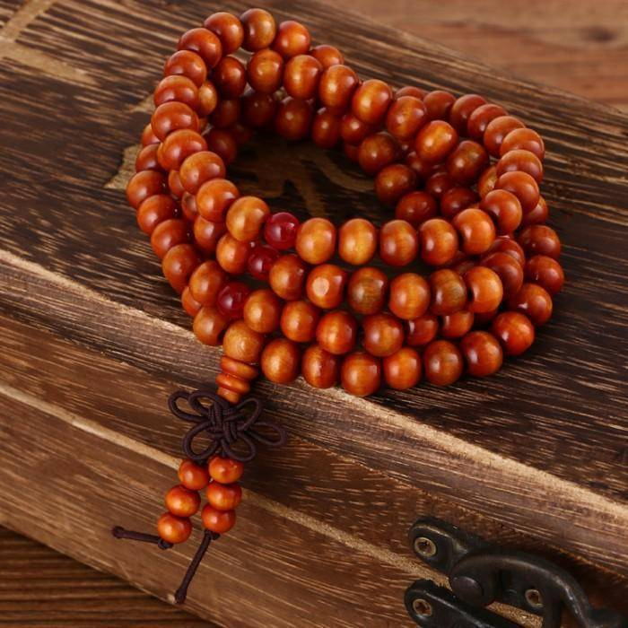 Energetic Healthy Me Stone Bracelets 108 Beaded Natural Sandalwood Meditation/Prayer Mala Orange