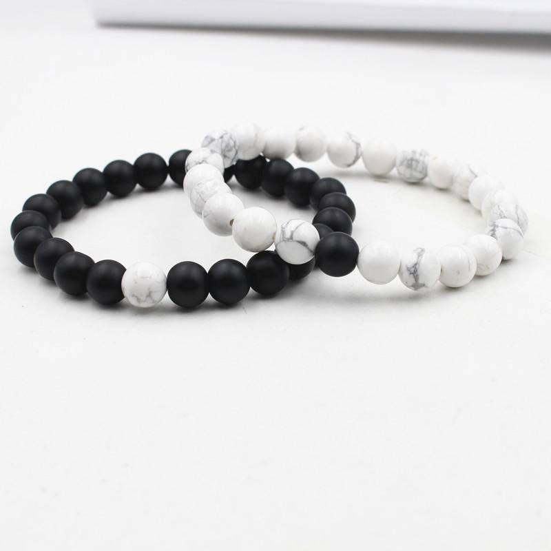 Energetic Healthy Me Stone Bracelets Black Gemstone and White Turquoise Distance Bracelets White Black 1