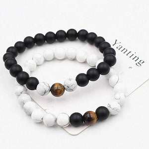 Energetic Healthy Me Stone Bracelets Black Gemstone and White Turquoise Distance Bracelets White Black 3