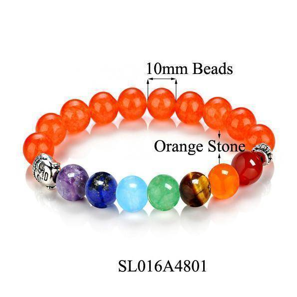 Energetic Healthy Me Stone Bracelets Buddha Chakra Bracelets, Natural Stones Orange