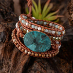 Energetic Healthy Me Stone Bracelets Caribbean Waters Golden