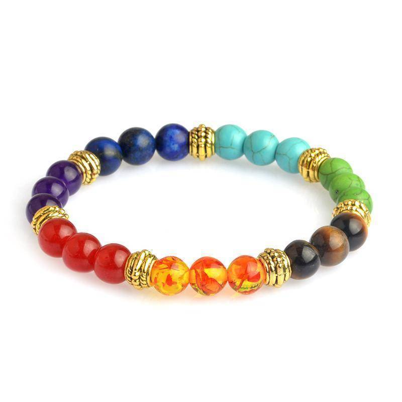 Energetic Healthy Me Stone Bracelets Colorful Chakra Bracelet Gold