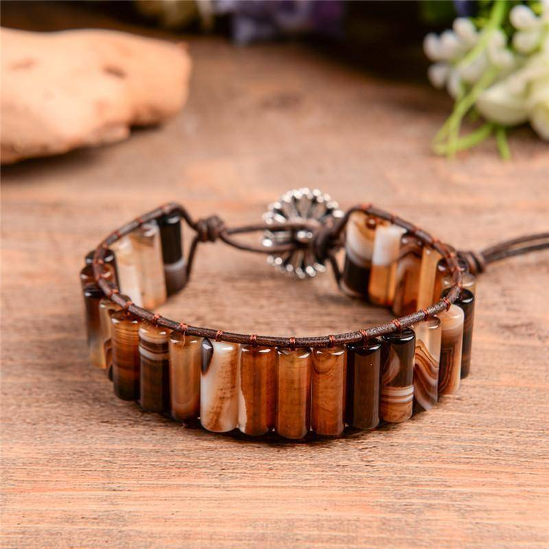 Energetic Healthy Me Stone Bracelets Earth Stone Swirl Mocha Froth
