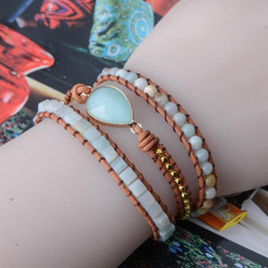 Energetic Healthy Me Stone Bracelets Eye of The Amazonite Leather