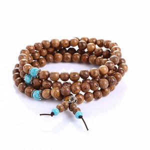 Energetic Healthy Me Stone Bracelets Natural Sandalwood Meditation/Prayer 108 Bead Mala With Turquoise Beads