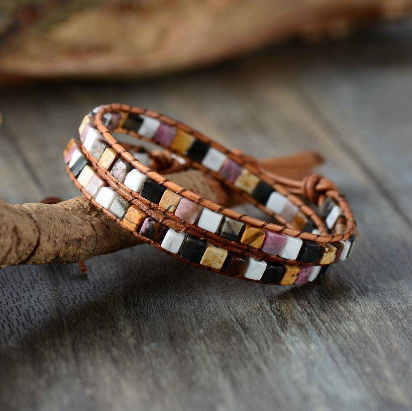 Energetic Healthy Me Stone Bracelets Natural Stone and Leather Wrap California