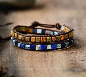 Energetic Healthy Me Stone Bracelets Natural Stone and Leather Wrap Mysterious