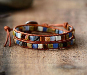 Energetic Healthy Me Stone Bracelets Natural Stone and Leather Wrap Tribal
