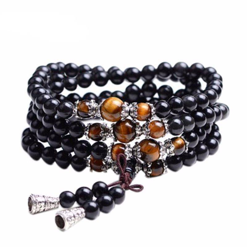 Energetic Healthy Me Stone Bracelets Tiger's Eye And Black 108 Bead Mala