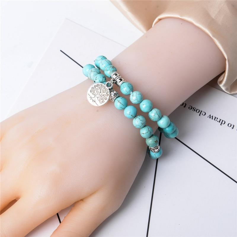Energetic Healthy Me Stone Bracelets Turquoise Tree of Life