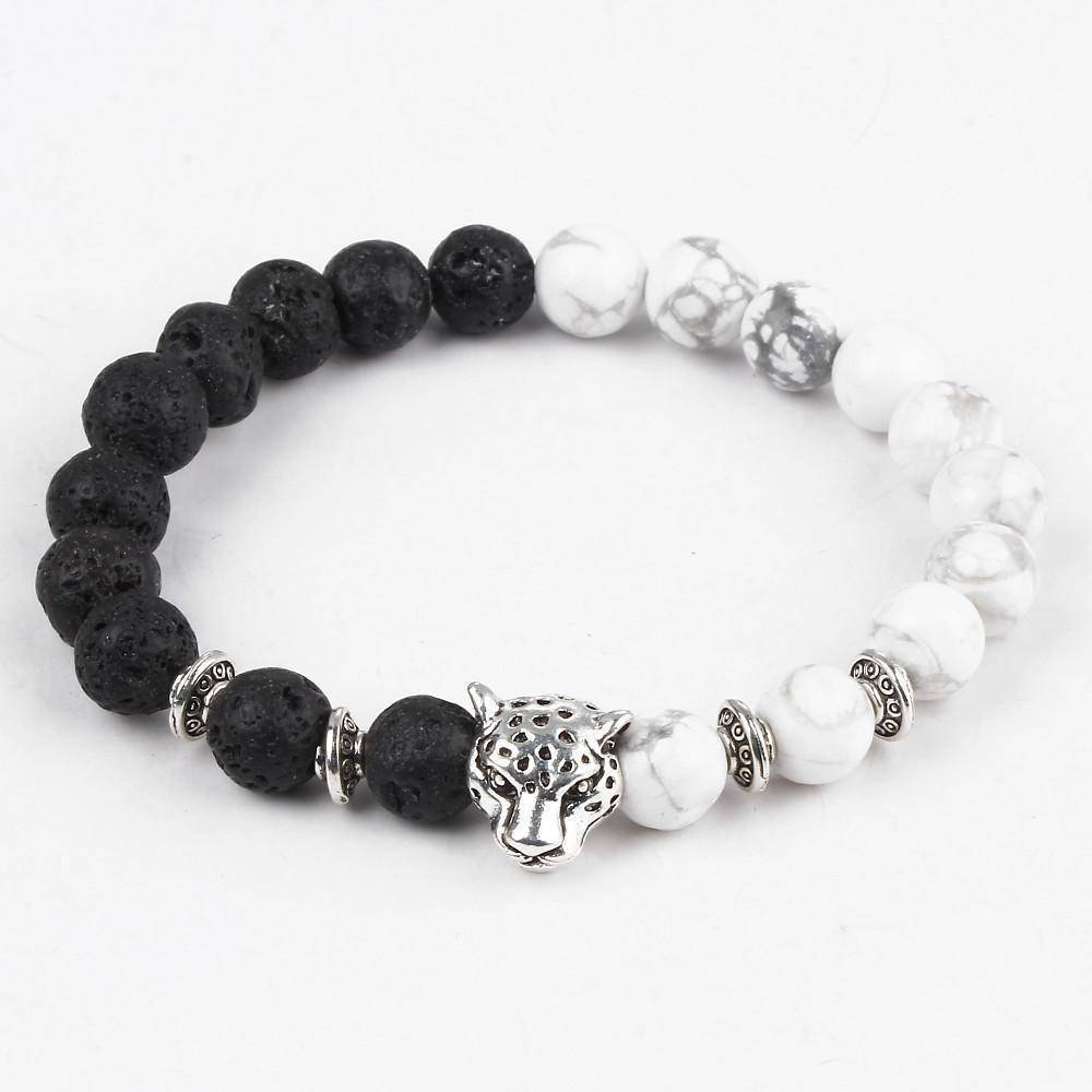 Energetic Healthy Me Stone Bracelets White and Black Leopard Charm Bracelet