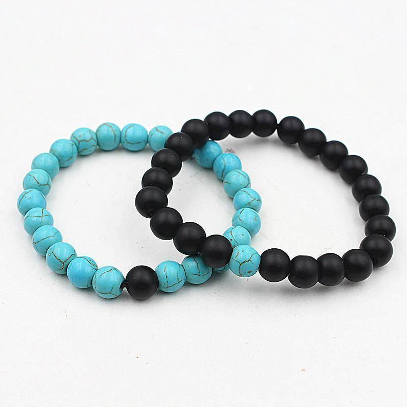 Energetic Healthy Me Stone Bracelets White Turquoise, Tiger's Eye, Black Stone Distance Bracelets blue black