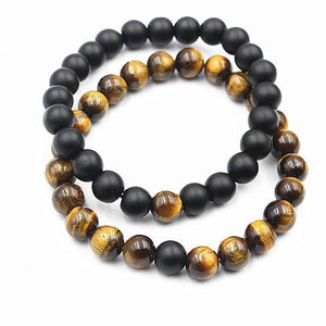 Energetic Healthy Me Stone Bracelets White Turquoise, Tiger's Eye, Black Stone Distance Bracelets tiger eye black