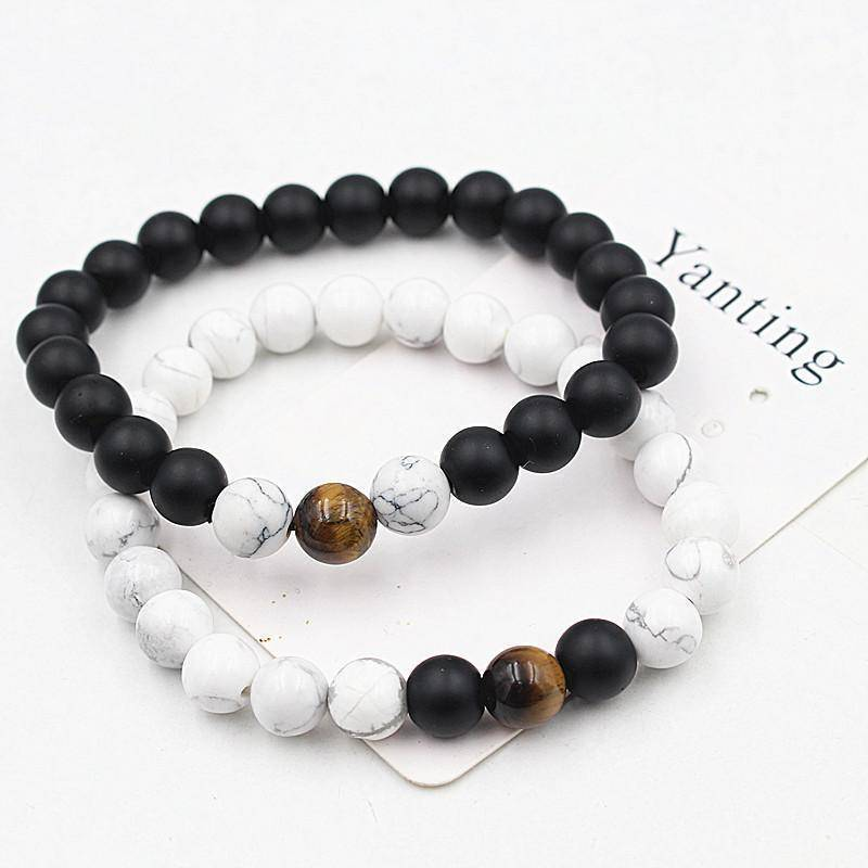 Energetic Healthy Me Stone Bracelets White Turquoise, Tiger's Eye, Black Stone Distance Bracelets white black 1