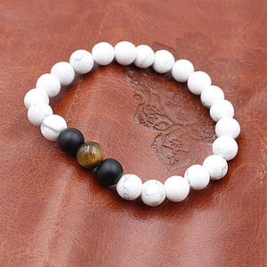 White Turquoise, Tiger's Eye, Black Stone Distance Bracelets