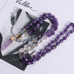 Energetic Healthy Me Stone Necklaces Amethyst Embrace 39 Inches