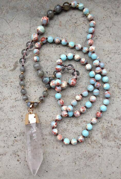 Energetic Healthy Me Stone Necklaces Clear Quartz Point Mala Blue and Red Agate