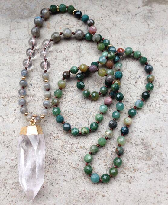 Energetic Healthy Me Stone Necklaces Clear Quartz Point Mala Green Agate