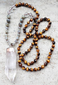 Energetic Healthy Me Stone Necklaces Clear Quartz Point Mala Tigers Eye