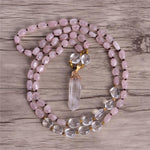 "Energetic Healthy Me Stone Necklaces Feeling Rosey 32"" Golden"