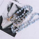 "Energetic Healthy Me Stone Necklaces Gentle Waves Aquamarine 32"" Golden"