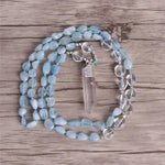 "Energetic Healthy Me Stone Necklaces Gentle Waves Aquamarine 32"" Silver"