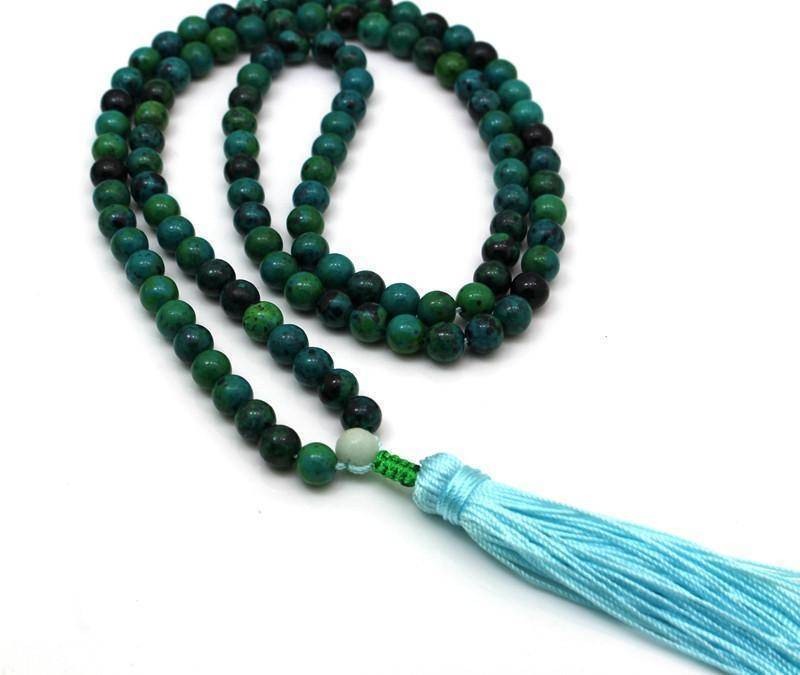 Energetic Healthy Me Stone Necklaces Natural Agate Crystal Mala Beads Necklace 6mm Beads