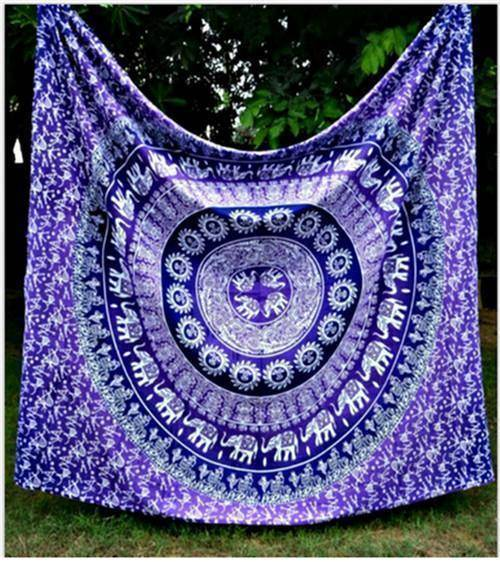 Energetic Healthy Me Tapestry Crazy Awesome Tapestry purple elephants / 150x130cm