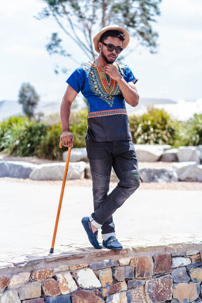 BLUE UNISEX DASHIKI SHIRTS