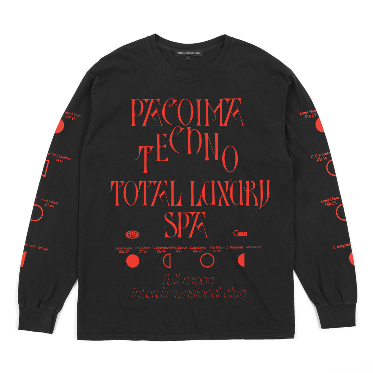 PACOIMA TECHNO - FULL MOON -  L/S TEE - BLACK