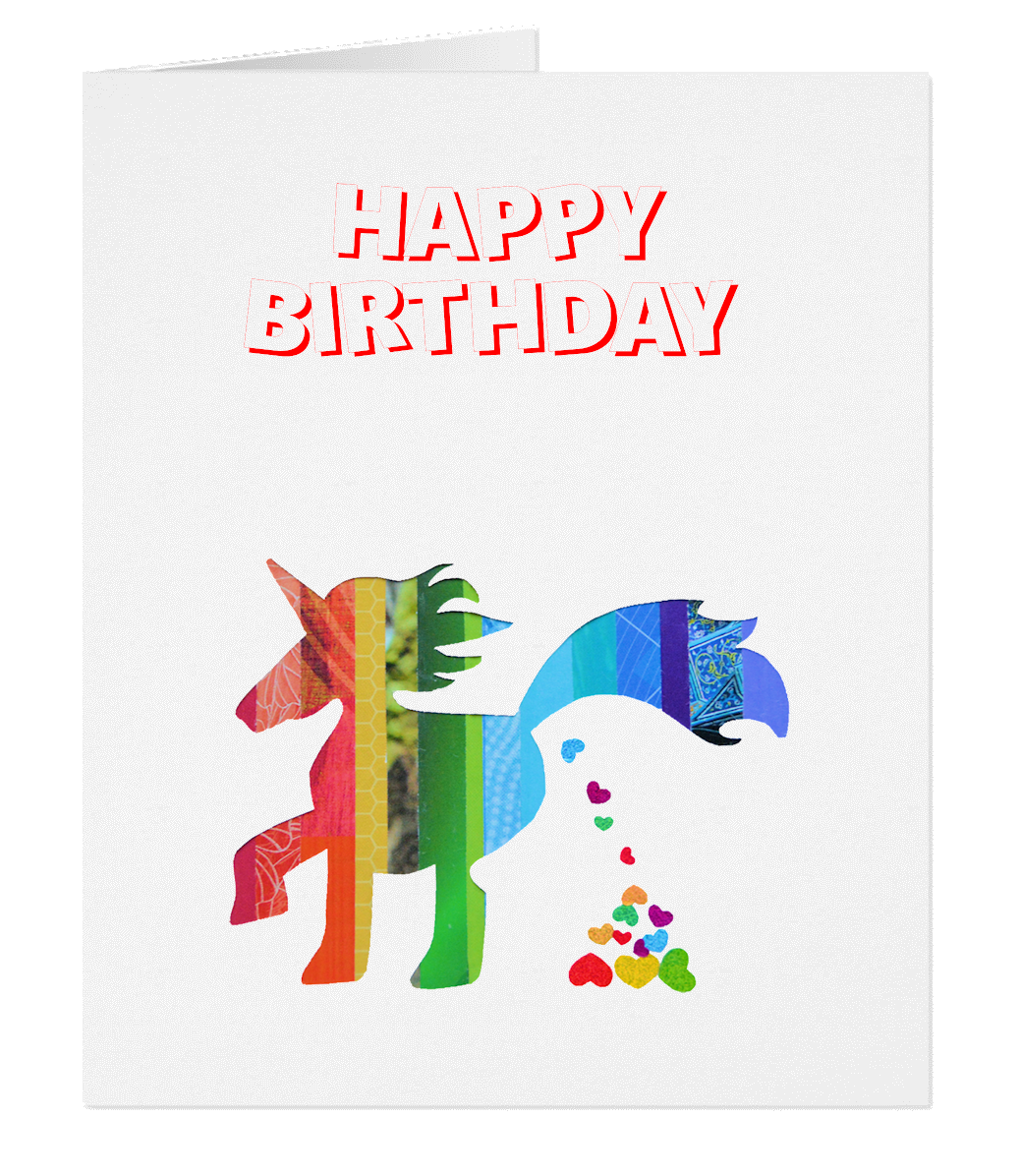gc unicorn birthday card  poop heart, Birthday card
