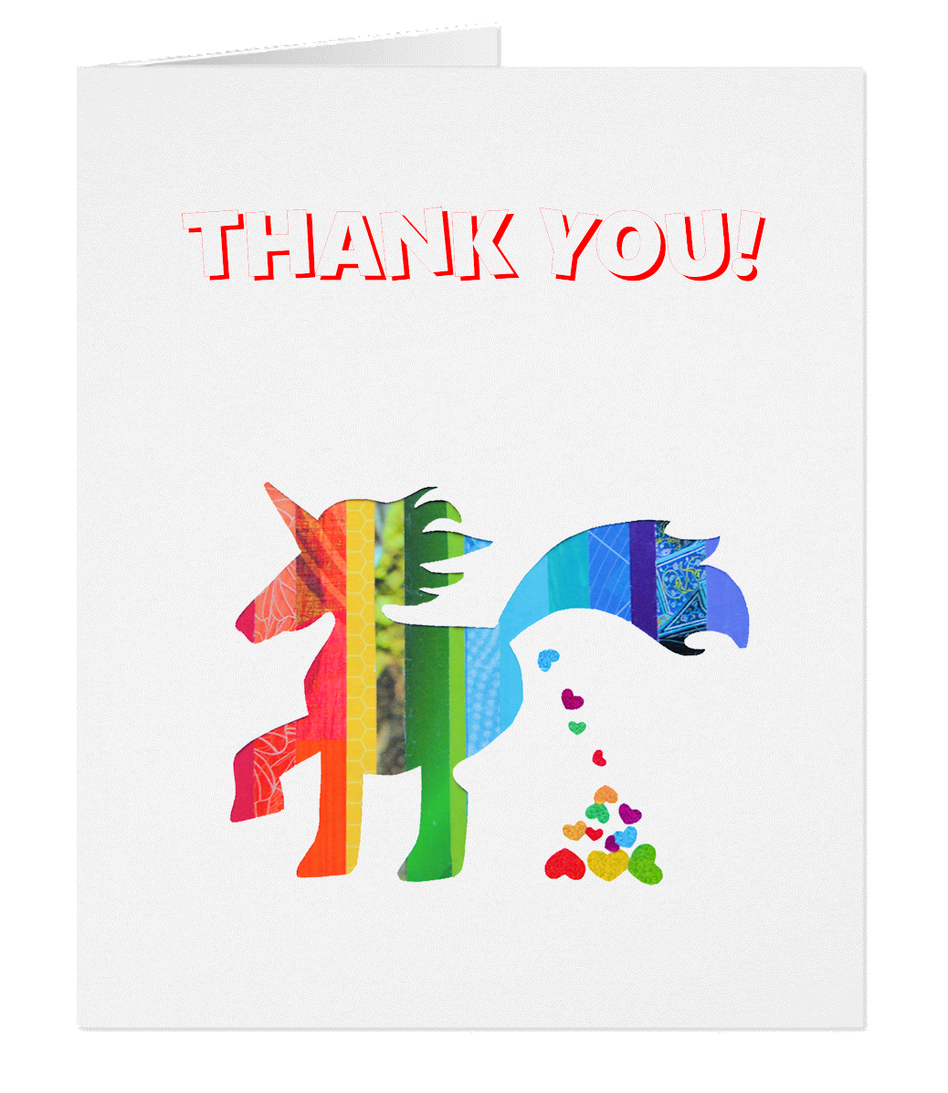 Gc004 Unicorn Thank You Card Poop Heart